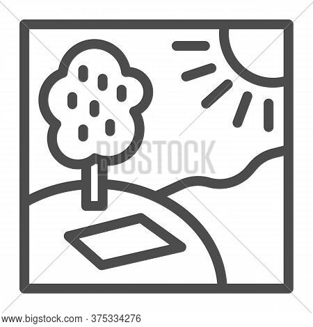 Picnic In Nature In Sunny Day Line Icon, Summer Time Concept, Sunny Day In Park Sign On White Backgr