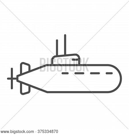 Submarine Thin Line Icon, Nautical Concept, Underwater Boat Sign On White Background, Submarine With