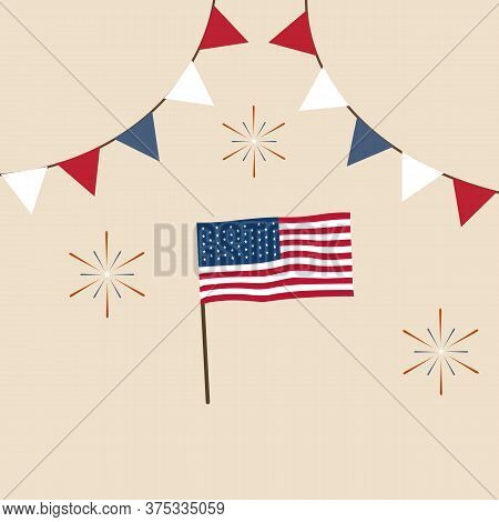 Vector Illustration 4th Of July Independence Day Greeting Card With American Flag Banner Garland Bun