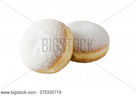 Traditional Sweet Donuts With Powdered Sugar And Jam. Fat Thursday Or Hanukkah Celebration.