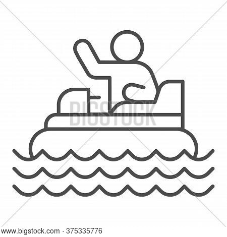 Catamaran With Person Thin Line Icon, Amusement Park Concept, Beach Boat With Pedals Sign On White B
