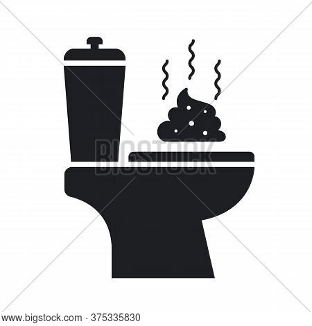 Toilet And Stinky Shit Icon On A White Background. Flat Vector Illustration