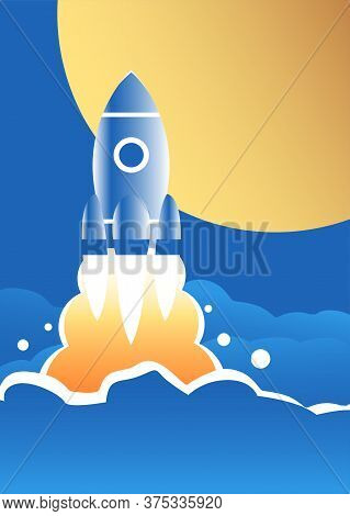 A Space Rocket Takes Off Against The Background Of The Moon. Comes Out Through The Clouds Into The S