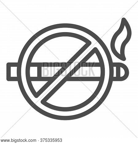 No Smoking Sign Line Icon, Nicotine Concept, Smoke Prohibited Sign On White Background, Smoking Proh