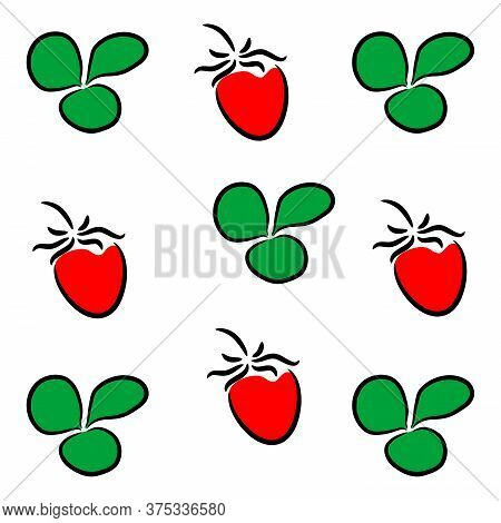 Red Strawberry And Leaves On The White Background
