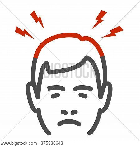 Headache Line Icon, Body Pain Concept, Lightnings Above Mans Head Sign On White Background, Person M