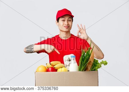 Online Shopping, Food Delivery And Internet Stores Concept. Finest Products For Out Clients. Courier