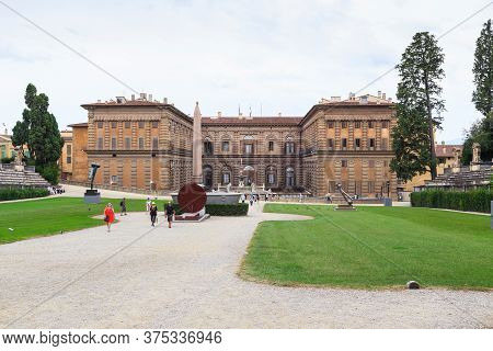 Florence, Italy - September 13, 2018: This Is A View Of The Pitti Palace From The Boboli Gardens Amp