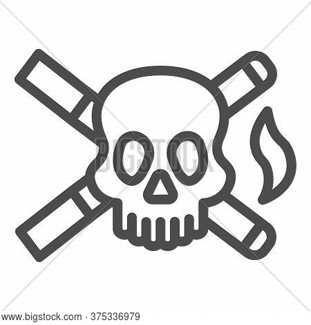 Skull And Two Cigarettes Line Icon, Smoking Concept, Cross Sign Of Cigarette With Skull On White Bac