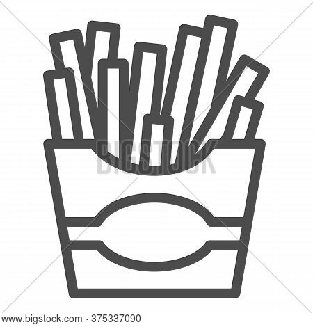 French Fries Line Icon, Junk Food Concept, Potatoes Fries In Paper Bag Sign On White Background, Fri