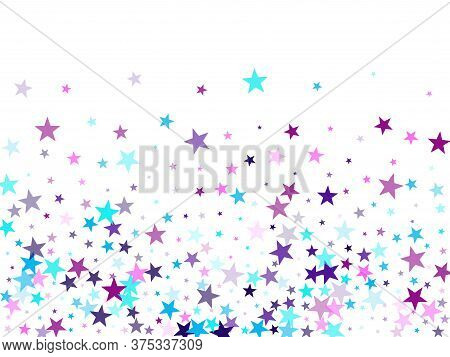 Flying Stars Confetti Holiday Vector In Cyan Blue Violet On White. Falling Sky Sparkle Elements. Tre