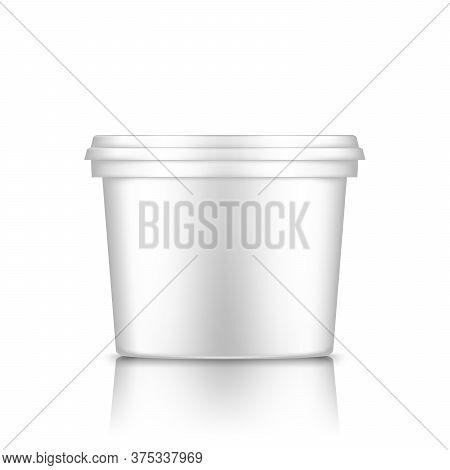 White Bucket With Cap Mockup Isolated From Background: Ice Cream, Yoghurt, Mayo
