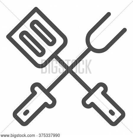 Bbq Spatula And Fork Line Icon, Picnic Concept, Grill Tools Sign On White Background, Barbecue Fork