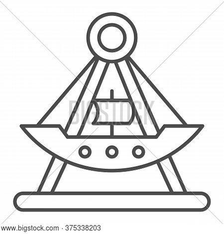 Riding Ship Attraction Thin Line Icon, Amusement Park Concept, Viking Boat Ride Sign On White Backgr