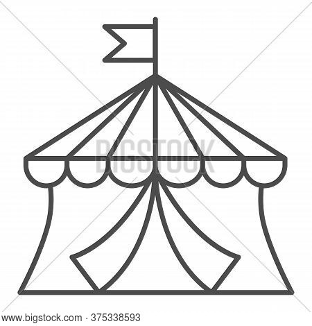 Circus Thin Line Icon, Amusement Park Concept, Circus Tent Sign On White Background, Round Tent With
