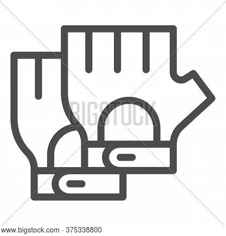 Cyclist Gloves Line Icon, Bicycle Accessories Concept, Fitness Gloves Sign On White Background, Glov