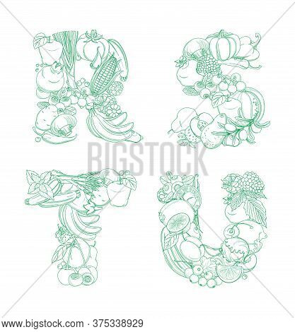 Letters R, S, T, U Pattern Logo Farm Fresh Fruits And Vegetables