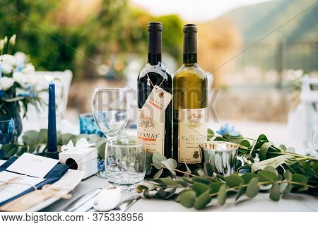 Budva, Montenegro - 05 June 2020: Two Bottles Of Wine On The Holiday Table. Montenegrin Sauvignon An