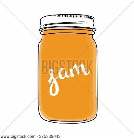 Outline Illustration Of Jar Of Jam With Lettering Word Jam On It