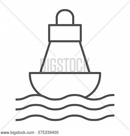 Buoy Thin Line Icon, Nautical Concept, Sea Buoy Floating On Waves Sign On White Background, Nautical