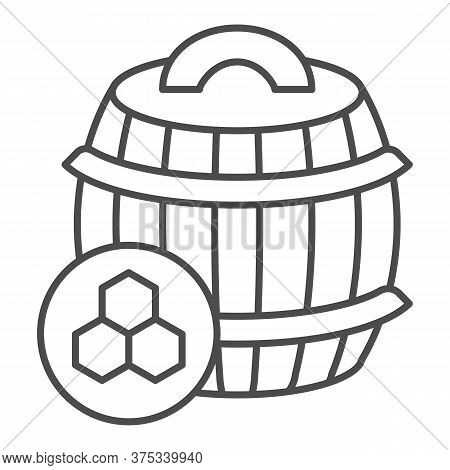 Barrel Of Honey Thin Line Icon, Beekeeping Concept, Wooden Barrel And Honeycomb Sign On White Backgr