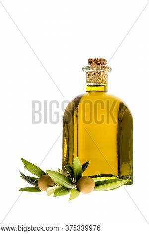 Extra Virgin Olive Oil, Rustic Glass Bottle, Olives And Leaves Isolated On White Background. Vertica