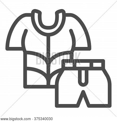 Cyclist Suit Line Icon, Cycling Clothes Concept, Bike Shirt And Shorts Sign On White Background, Cyc