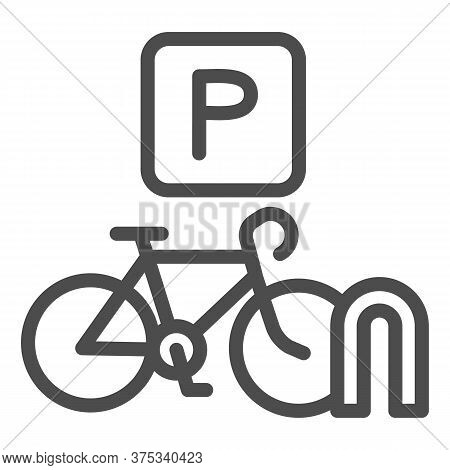 Parking For Cyclists Line Icon, Outdoor Sport Concept, Parking For Bike Sign On White Background, Bi