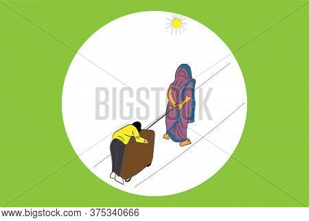 A Migrant Women Wheels Her Son Sleeping On Suitcase During Lockdown In India Vector Illustration