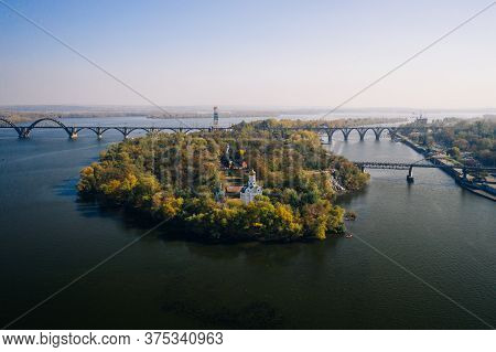 View Over The Dnieper River In Kiev. Aerial Drone View.