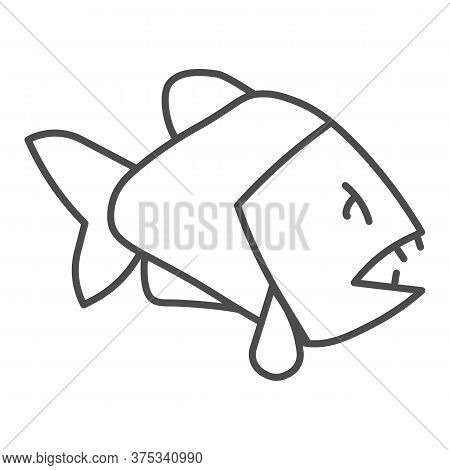 Piranha Thin Line Icon, Ocean Concept, Aggressive Fish Predator Sign On White Background, Piranha Ic