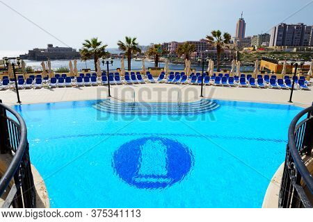 St Julians, Malta - April 24: The Swimming Pool At Corinthia St Georges Bay Luxury Hotel On April 24