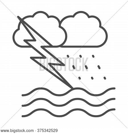 Ocean Windstorm With Rain And Lightning Thin Line Icon, Nautical Concept, Ocean Storm Sign On White