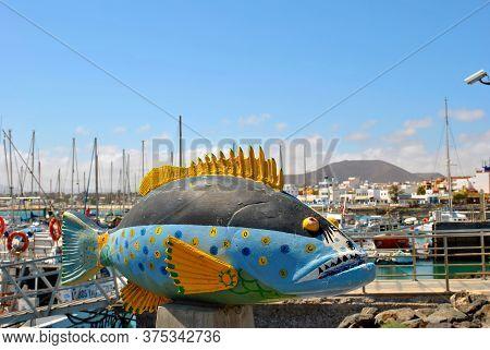 Corralejo Harbour, Fuerteventura, Canary Islands, Spain - September 16, 2018 : Painted Fish In Corra
