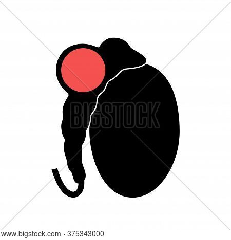 Testis Cancer Icon. Tumor In Male Reproductive System Logo. Treatment For Man Health. Human Sexual O