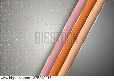 Gold Halftone Dots And Inclined Ribbon Stripes Banner Vector Design. Stylish Business Background Tem