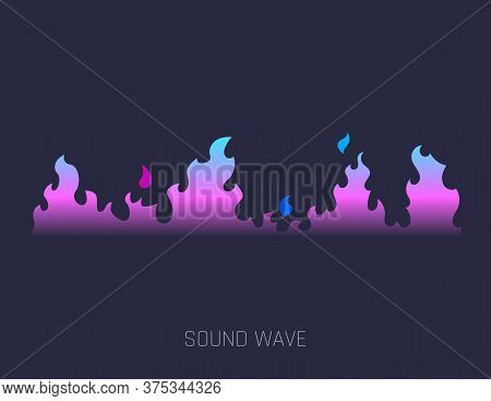 Fire Music Sound Waves. Concept Musical Bar. Audio Digital Equalizer Technology, Console Panel, Musi