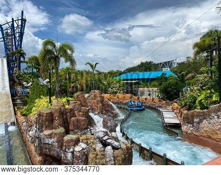 Orlando, Fl/usa-7/3/20: The Infinity Falls Water Ride At Seaworld In Orlando, Florida.