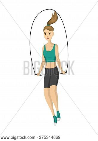 Woman Fitness. Vector Girl Doing Sport Physical Exercise. Workout Aerobic Fitness With Skipping Rope