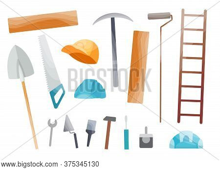 Collection Of Hand Tool. Set Of Equipment For Repair. Handyman Tools. Isolated Vector Illustration I