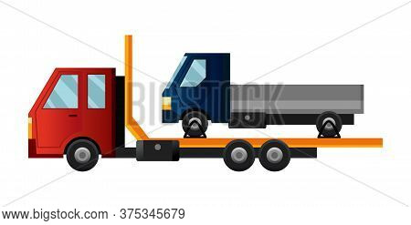 Tow Truck. Cool Flat Towing Truck With Broken Car. Truck Repair Service Assistance Vehicle With Dama