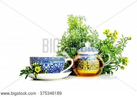 Rue Infusion ( Ruta Graveolens ) . Cup, Teapot And Rue Plant With Flowers On White Background