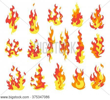 Set fire flames. Cartoon collection of abstract stylized fires. Flaming illustration. Comic dangerous flame fires isolated . Hot painting