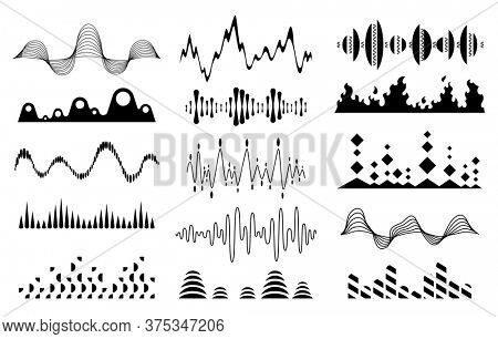 Halftone music sound waves set. Audio digital equalizer technology, console panel, musical pulse. Modern black music wave pattern. Concept musical bar