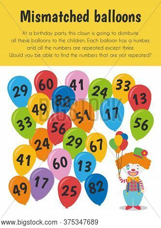 Mismatched Balloons Educational Sheet. Primary Module For Attention And Perception. 5-6 Years Old. E
