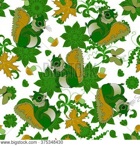 Surrealistic Seamless Pattern With Green Squirrels White Background With Flowers And Leaves. Forest