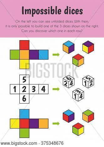 Impossible Dices Educational Sheet. Primary Module For Logic Reasoning. 5-6 Years Old. Educational S