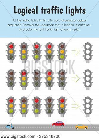 Logical Traffic Lights Educational Sheet. Primary Module For Logic Reasoning. 5-6 Years Old. Educati