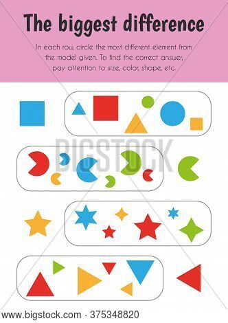 The Biggest Difference Educational Sheet. Primary Module For Logic Reasoning. 5-6 Years Old. Educati
