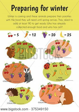 Preparing Winter Educational Sheet. Primary Module For Numerical Ability. 5-6 Years Old. Educational